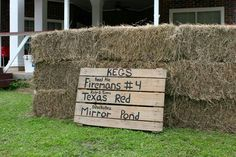 Hay bale bar - hay bales and pallet - from zoo, kegs from party barn in Austin