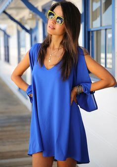 Love Love Love this Color! Great with a Tan! Sexy Sapphire Blue Hollow-out Split Sleeve Chiffon Beach Dress #Sexy #Sapphire #Blue #Split_Sleeve #Beach #Dress #Spring #Break #Fashion #Ideas