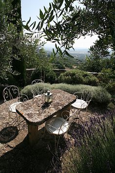 Terrace with view framed by lavender and olive trees, Gordes, Luberon