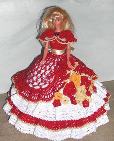 Crochet robe de bal en mode poupée Barbie patron - #638 COTILLION #12
