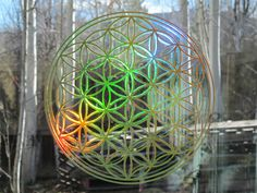 LARGE Flower of Life Sticker Prismatic  Rainbow by SIGNchronicity, $15.00