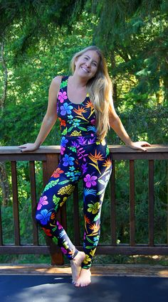 Printed Yoga Pants, Tropical Flowers, Yoga Leggings, Rainbow Colors, Polyester Spandex, Hawaiian, Pants For Women, Jumpsuit, Crop Tops