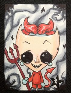 Sugar Fueled Lock The Nightmare Before Christmas NBC  lowbrow pop surrealism creepy cute big eye ACEO mini print