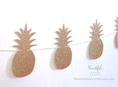 Gold & Green Glitter Pineapple Garland by BeautifulPaperCrafts Hawiian Party, Hawaiian Luau Party, Tropical Party, Green Glitter, White Glitter, Gold Pineapple, 25th Birthday, Wedding Signage, Garland
