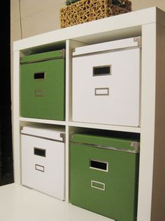 IKEA Kassett storage boxes in green