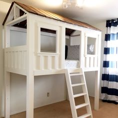 Modified cabin bed plans to build the perfect cabin loft bed. 💛 Merry Christmas to our little guy. ✨This is the stuff dreams… Boys Loft Beds, Bunk Beds Small Room, Bunk Beds With Stairs, Kid Beds, Small Rooms, Diy Bed Loft, Kids Beds Diy, Lofted Beds, Playhouse Bed