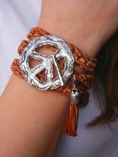 Peace Sign Jewelry, Leather Wrap Bracelet, Boho Style by HappyGoLicky, $145.00