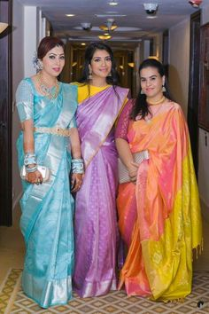 Online shopping from a great selection at Clothing & Accessories Store. Blue Silk Saree, Bridal Silk Saree, Indian Silk Sarees, Indian Beauty Saree, Pattu Sarees Wedding, Yellow Saree, Cotton Saree, Pattu Saree Blouse Designs, Silk Saree Blouse Designs