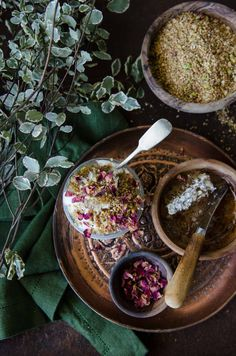 Fragrant and nutty with a heady mix of spices, this sweet dukkah with macadamia, pistachio, rose, cardamom, cinnamon, sesame and fennel has a myriad of uses