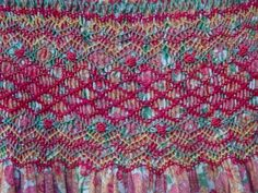 Girl's dress in Liberty fabric: detail of smocking
