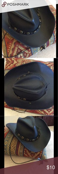 Faux Leather Cowboy Hat Black faux leather with antique gold detailing on a faux leather strip around the base, and neck-tie to complete the look, by Henschel Hat Co. USA, Size Medium. It is very GU. The strip around the base has come unglued, (see 7th pic) I don't wear it anymore, so I never got it re-glued. It will stay down when Hat is on head, but not if worn down on back, and the bills need to be reshaping. This is great for a costume 😊 Henschel Hat CO. USA Accessories Hats
