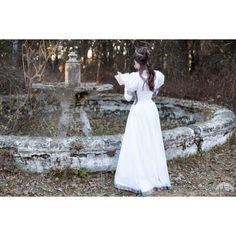 Wedding Dress Found Princess Medieval Dress Fantasy Style Dress; ($224) ❤ liked on Polyvore featuring dresses, sleeved dresses, lace sleeve dress, long puffy dresses, long dresses and red lace dress