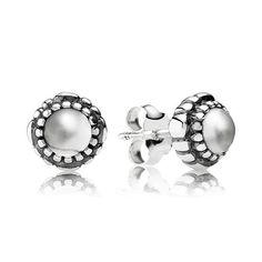 Pandora Silver Rock Crystal Stud Earrings, April Birthstone Studs - £45.00