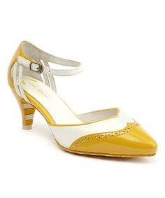 e75725fff763 Lola Ramona Yellow   White Kitten Leather Pump