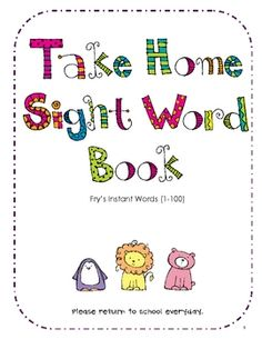 The words in this Take Home Sight Word Book come from Fry's Instant Word List.Inside you will find: Pages Covers for student book (pick. Teaching Sight Words, Sight Word Practice, Sight Word Activities, Kindergarten Reading, Teaching Reading, Reading Games, Reading Lessons, Word Study, Word Work