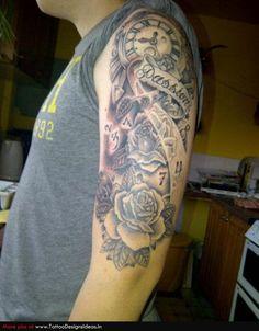 sleeve tattoo ideas for men   Tatto design of Rose Tattoos sleeve - TattooDesignsIdeas.in