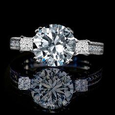 Three Stone Ring with Round Center Simulated Diamond - Diamond Veneer® Miligree Vintage Style Simulated Engagement Ring, Simulated Diamond Wedding Ring 635r13846