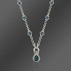 """#ScottKay Blue Topaz and .10 ct. t.w. Diamond #Necklace In Sterling Silver. 17"""""""
