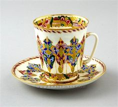 Ekaterina's Imperial Porcelain &Tea. Arabesques Cup and Saucer