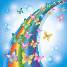 Light colorful background with rainbow and butterflies