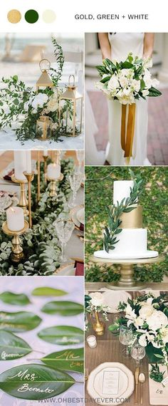 gold green and white elegant wedding color ideas wedding colors Wedding Color Palette Ideas - Gold and Green - Oh Best Day Ever Elegant Wedding Colors, Gold Wedding Colors, Gold Wedding Theme, Gold Wedding Decorations, Wedding Table, Wedding Flowers, Wedding Ideas, Wedding Cakes, Wedding Ceremony