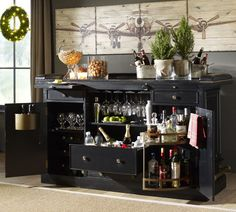A home bar for wine and cupcake nights.