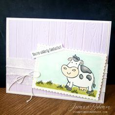 """For the super fun OSAT Blog Hop theme, """"Chick Ewe Out"""" I decided to feature my favorite little cows from the Stampin' Up set, Over the Moon. Read about all the details and get a full list of supplies needed to recreate this card on my blog!"""
