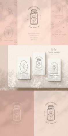 This pre-made branding kit ( vintage floral logo in frame, jar and capsule + packaging pattern ) can be customised to suit your brand perfectly. You can edit your company name, colors and tagline. #AffiliateLink Logo Design Template, Logo Templates, Floral Logo, Branding Kit, Vintage Floral, Packaging Design, Place Card Holders, Logos, Frame