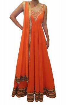 Bubber Couture Orange Floor i i. I LOVE THIS ....Length Anarakali - Clothing