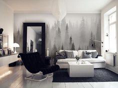 Dimmig skog svartvit