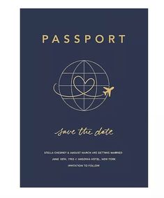 The clever Passport to Romance Save the Date Card features a plane tracing a heart as it traverses the globe. Designed by Paperless Post.Printed on Mohawk superfine white 130 lb. card stock that is soft to the touch and matches our superfine white Bohemian Wedding Invitations, Wedding Stationary, Save The Date Online, Save The Date Designs, Paperless Post, Old Hollywood Movies, Paper Source, Library Card, Wedding Website