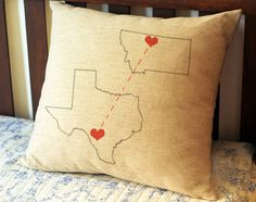 Custom map pillow cover, long distance pillows, personalized state map cushion, throw pillow,engagement gifts, wedding gifts for couple 3215 by CreativePillow on Etsy https://www.etsy.com/listing/187461479/custom-map-pillow-cover-long-distance