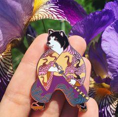 Black shiba samurai pin-shiba pin-horse fiddle press-enamel pin-shiba inu-shiba-samurai-black shiba-japanese-japan-lapel pin-pin game-kimono