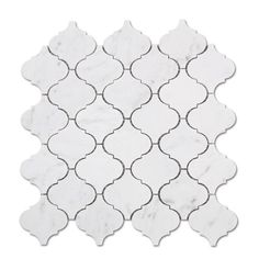 Carrara White Marble Mosaic Tile in Moroccan Arabesque Lanterns Pattern - Polished Carrara Marble Kitchen, Marble Mosaic, Stone Mosaic, Mosaic Glass, Mosaic Tiles, Marble Floor, Mosaic Wall, Wall Tile, Arabesque Tile Backsplash