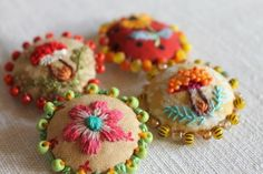 Embroidered and beaded buttons - these are darling! Lovely example of hand embroidery in unexpected places. Just a tiny detail can make all the difference! Ribbon Embroidery, Beaded Embroidery, Cross Stitch Embroidery, Embroidery Patterns, Art Patterns, Crochet Patterns, Button Crafts, Fabric Jewelry, Handmade Crafts