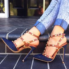 Shoespie Denim Rivets Decoration Stiletto Heels