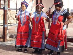 Xhosa women in their Xhosa traditional attires Xhosa Attire, African Attire, African Wear, African Women, African Dress, African Tribes, African Style, African Print Fashion, Africa Fashion