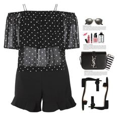 """""""I See Spots...Polka Dots"""" by hollowpoint-smile ❤ liked on Polyvore featuring Ganni, RED Valentino, Gianvito Rossi, Casetify, Yves Saint Laurent, Ray-Ban, NARS Cosmetics, Anja and NYX"""