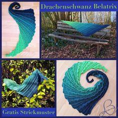 "Free Knitting Pattern / free pattern shawl ""Dragon's Tail Belatrix"" – How to Train Your Dragon - Knitting and Crochet Shawl Patterns, Knitting Patterns Free, Textures Patterns, Free Knitting, Free Pattern, Crochet Patterns, Crochet Motifs, Free Crochet, Crochet Simple"