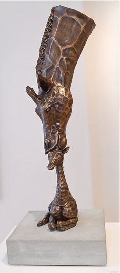 Available in bronze or bronze resin #sculpture by #sculptor Rosamond Lloyd titled: 'The Art of Nurture II (Bronze Giraffe Mothering Calf statuette statue)'. #RosamondLloyd