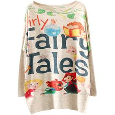 Womens Crewneck Batwing Sleeve Fairy Tales Sweater Beige (£12) ❤ liked on Polyvore featuring tops, sweaters, beige, crew neck tops, crew top, pink top, crew neck sweaters and batwing sleeve sweater