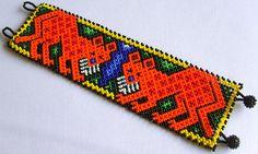 Mexican Huichol Beaded Jaguar Bracelet by Aramara on Etsy, $24.50