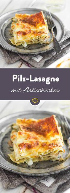 Lasagne mal anders - mit Artischockenherzen statt Hack und Champignons statt Tomaten. Obendrauf: eine knusprige Schicht feinster Parmesan.