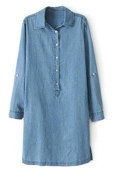 立っている襟光青いデニムのドレス ¥3,399