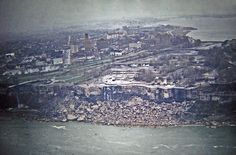 Niagara Falls without the 'falls' - Yes, it's true.  This is a remarkable photograph.  This was all made possible in the summer of 1969 when the water flowing over the falls went missing.  It actually was re-routed via a cofferdam which effectively turned off the falls so that engineers could clear debris and do scientific/geological work.  For more information and a closer look at this rare photograph - Click on in......