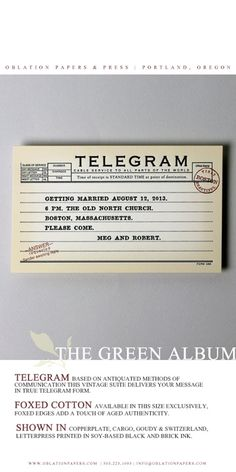telegram wedding invitation suite from the 2013 green album :: a portfolio of sustainable letterpress designed and printed in portland, oregon by oblation papers & press