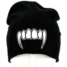 98600c87afd Vampire Fangs Beanie Monster Teeth Knit Cap ( 9.99) ❤ liked on Polyvore  featuring accessories