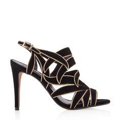 Sandália Alta Fechada em Folhas: R$ 299,90  #design #dourado #ouro #happywalk #sapatos #shoes #modern #moda #fashion #art
