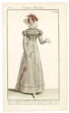 Le Journal des Dames et des Modes 1821 Costume Parisien N°2009