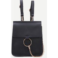 Black Faux Leather Circle Ring Flap Mini Backpack